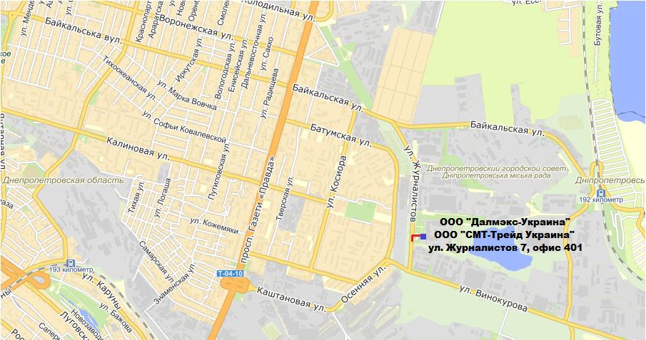 Схема проезда в Днепропетровске - Далмэкс - строительное оборудование для профессионалов.